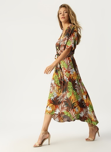 Koton Çiçekli Uzun Elbise Oranj